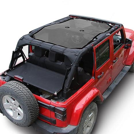 Jeep Wrangler 4 Door Soft Top >> Jecar Mesh Shade Top Cover Uv Protection Soft Top For Jeep Wrangler Jk 2007 2017 4 Door Black