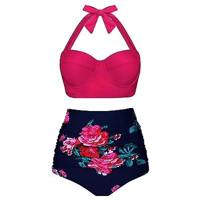 Womens Size UniSweet Women Vintage Polka Dot High Waisted Bikini Set Two Piece Swimsuits