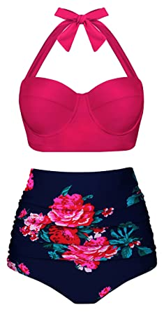 40c62f3bc63e2 Amazon.com: UniSweet Women Vintage Polka Dot High Waisted Bikini Set Two  Piece Swimsuits (Womens Size): Clothing