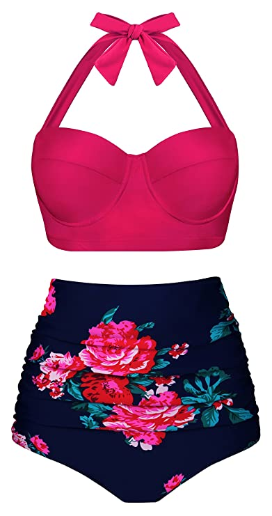 Angerella Bikini Swimsuit for Women High Waisted Bikini Retro Vintage Swimwear,Pink,M
