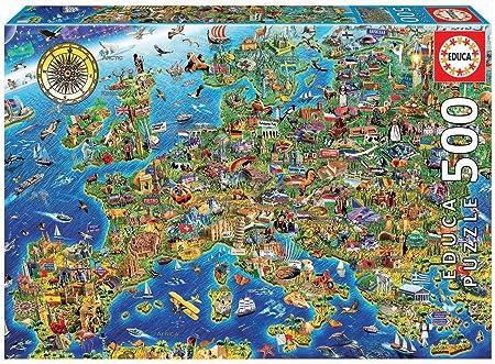 Educa Borras - Genuine Puzzles, Puzzle 500 piezas, Mapa de Europa (17962): Amazon.es: Juguetes y juegos