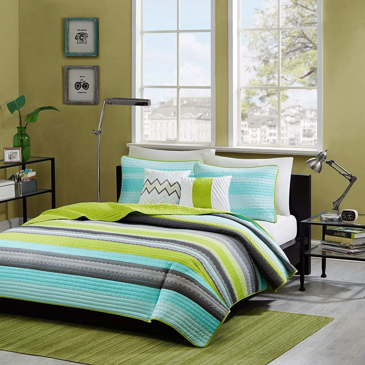 Reversible Modern Teal Lime Green Grey Coverlet Bedding Set