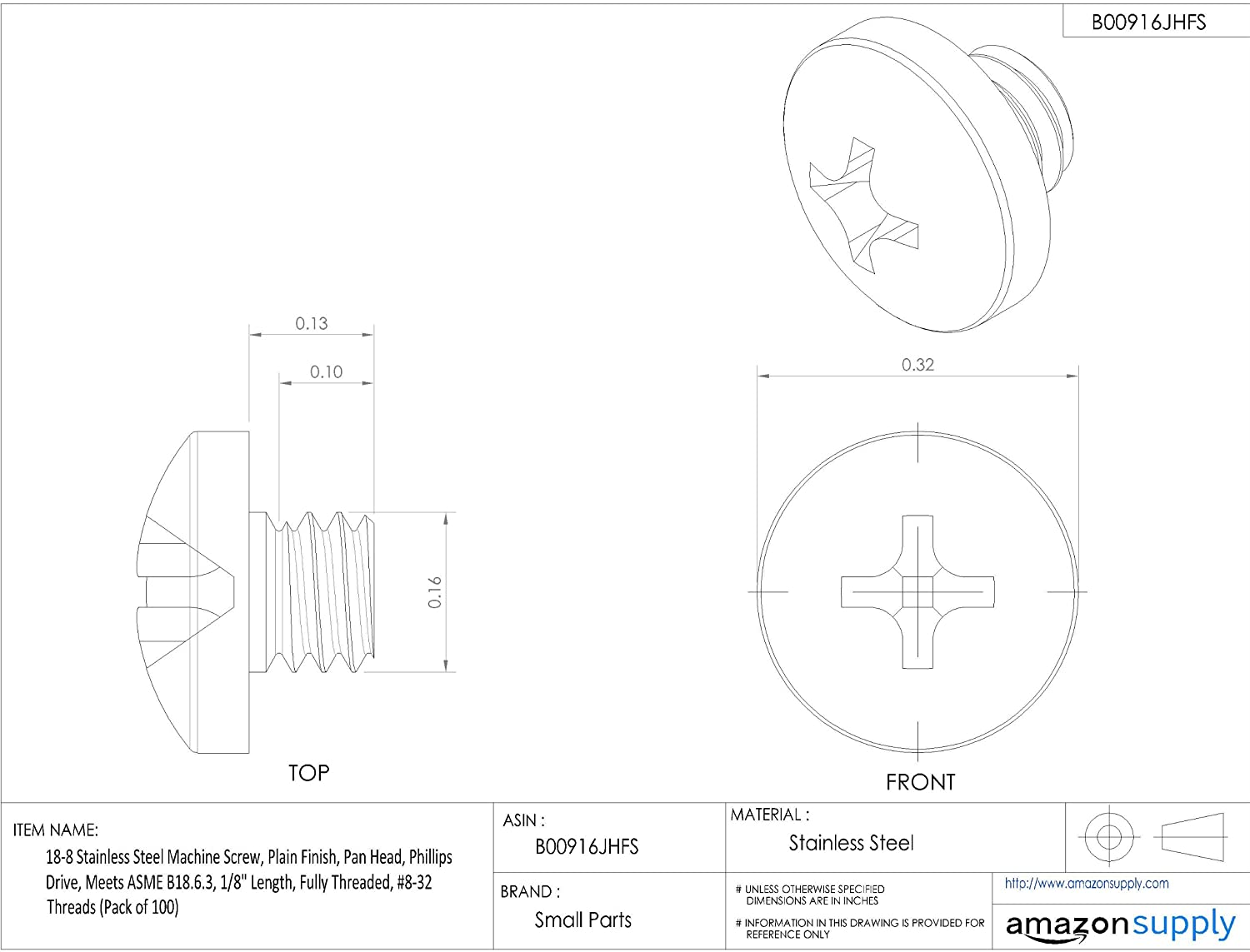 Plain Finish Pan Head Pack of 10 Meets ASME B18.6.3 18-8 Stainless Steel Machine Screw Fully Threaded 3//8-16 UNC Threads 3//4 Length Phillips Drive