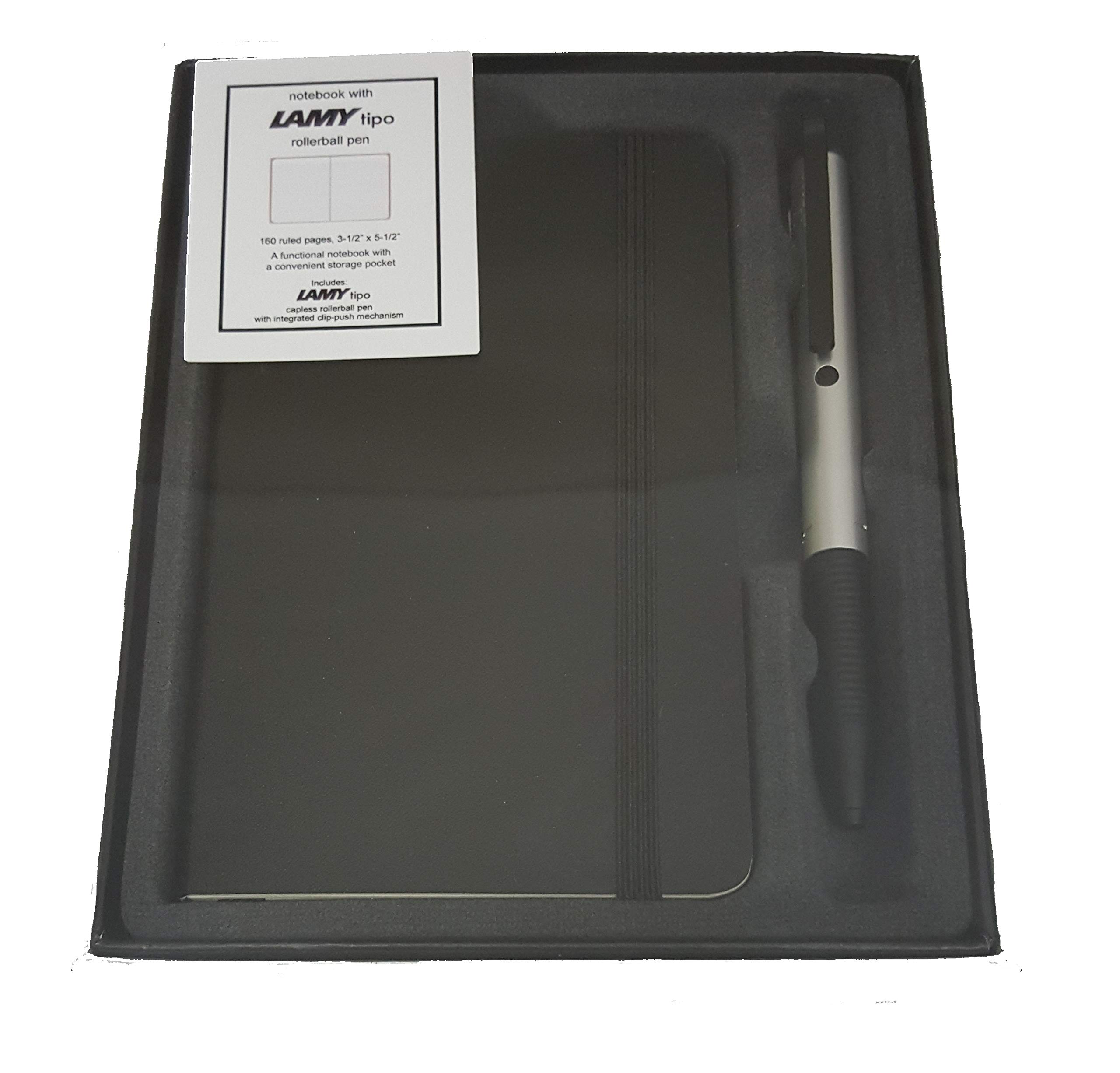 LAMY Aluminum Tipo with Black Ink with Black Notebook Gift..