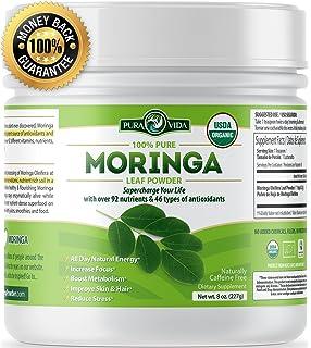 PURA VIDA Moringa Oleifera Powder: USDA Certified Organic. Single Origin Green Superfood Supplement For