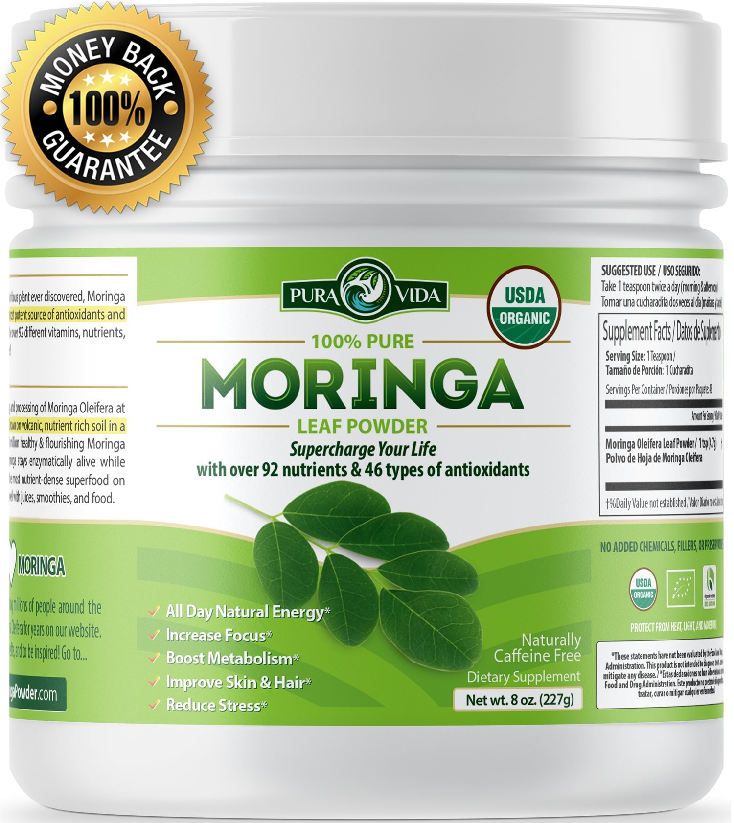 PURA VIDA Moringa Oleifera Powder: USDA Certified Organic. Single Origin Green Superfood Supplement For