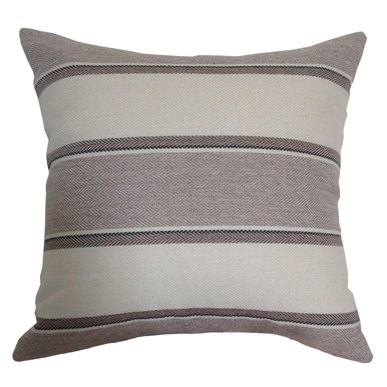 M MOCHOHOME Linen Decorative Stripe Square Throw Pillow Cover Case Pillowcase Cushion Sham - 24'' x 24'', Grey