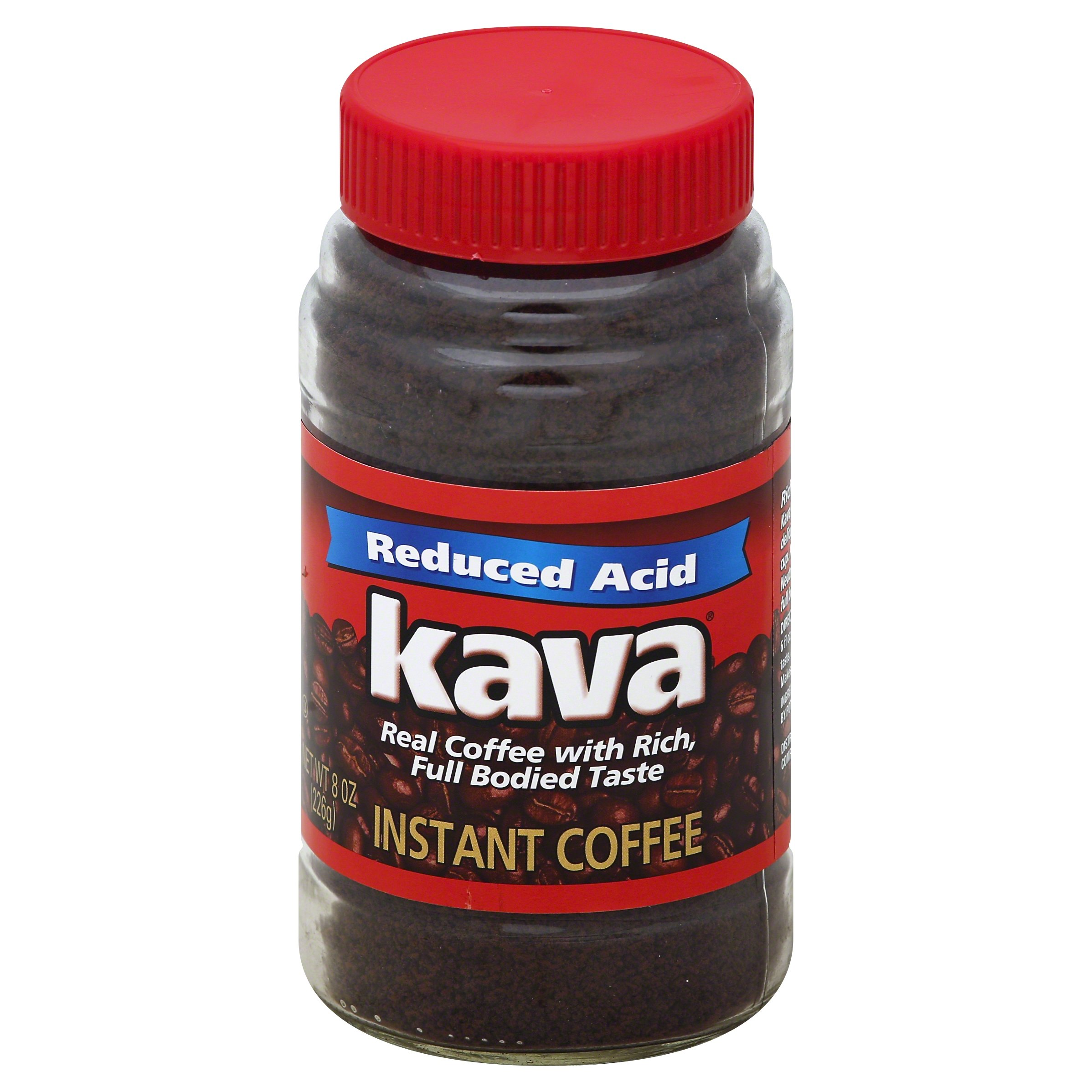 Kava Reduced Acid Instant Coffee, 8 Ounce Jars (Pack of 12)