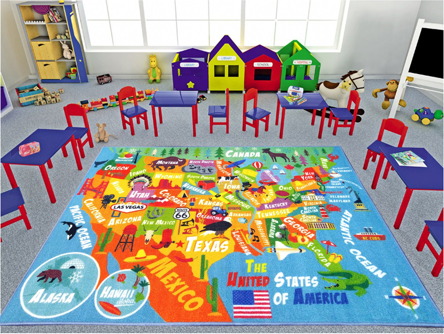 33 x 47 Kev and Cooper KC CUBS Playtime Collection USA United States Map Educational Learning /& Game Area Rug Carpet for Kids and Children Bedrooms and Playroom