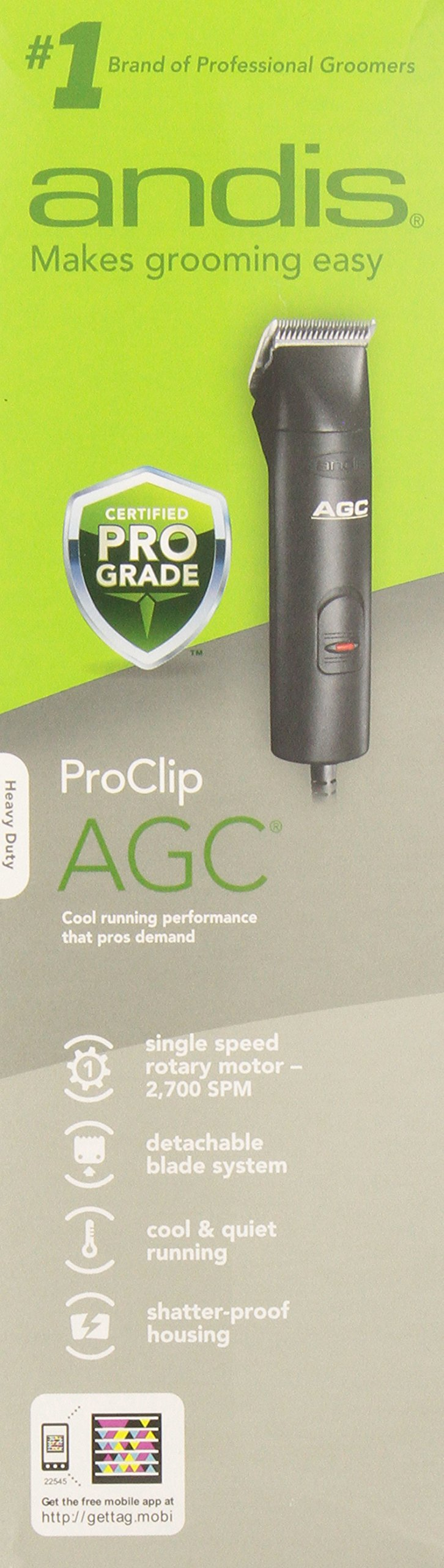 Andis AGC 1-Speed Detachable Blade Clipper Kit, Professional Animal Grooming, AGC, Black  (22545)