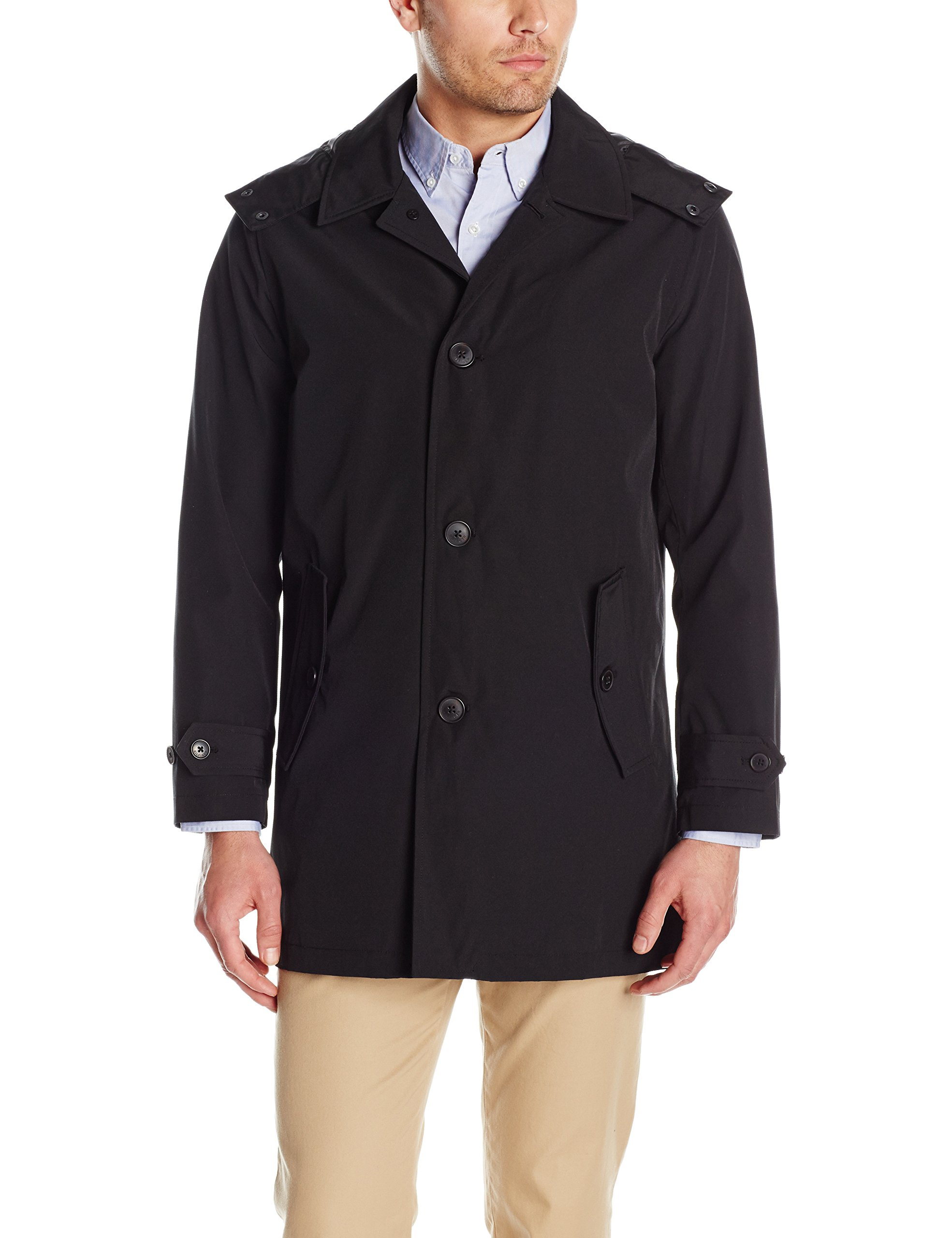 Tommy Hilfiger Men's Hooded Rain Trench Jacket, black, L by Tommy Hilfiger