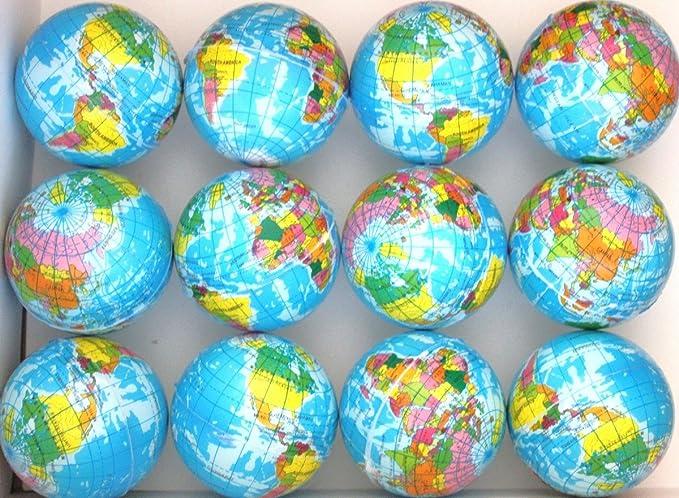 United Imports Globe Planet Earth Soft Foam Stress 55mm Ball