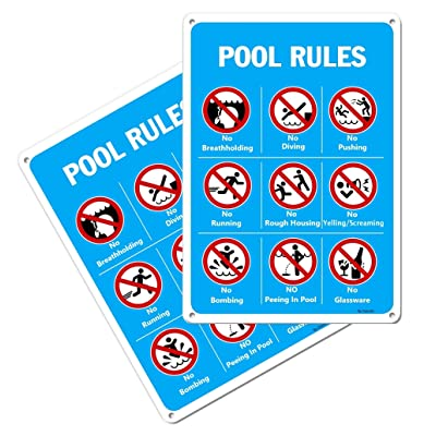 2 Pack ''Pool Rules'' Signs 14''x10'' Rust-Free Aluminum UV Printed, Weatherproof and Easy to Mount for Swimming Pool Indoor Outdoor Use - Blue: Industrial & Scientific