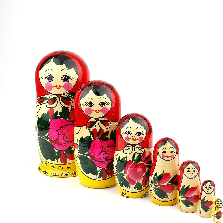 Hand painted in Russia 4/'/' Russian Semenov Nesting dolls Matryoshka set 5 pcs