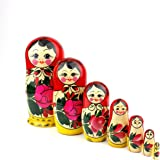 Heka Naturals Matryoshka Russian Nesting Dolls Semenov Classic Babushka Hand Made in Russia 7 pieces 18 cm Red Top Wooden Gift Toy