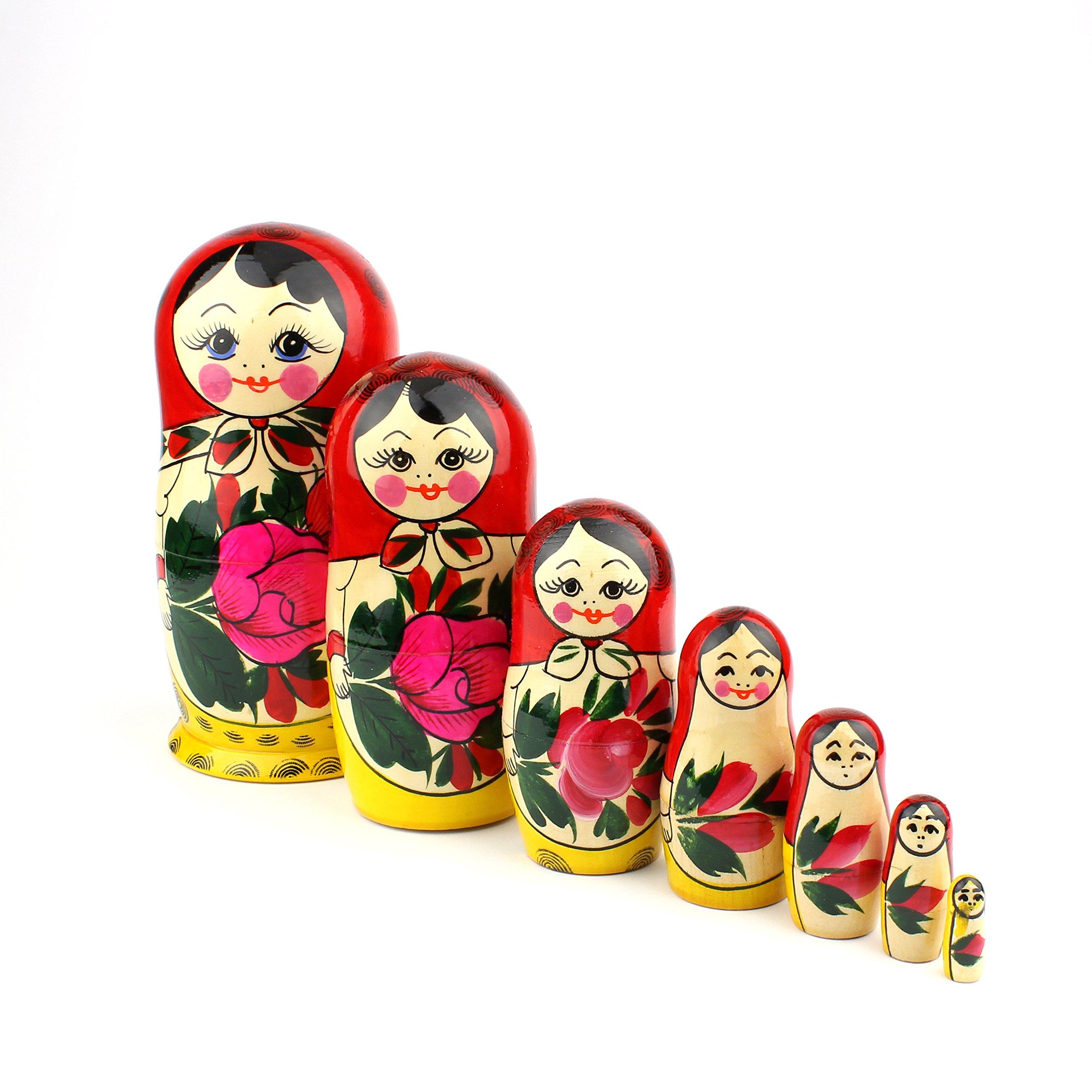 "Heka Naturals Matryoshka Russian Nesting Dolls Semenov Classic Babushka Hand Made in Russia Red Top Wooden Gift Toy (7 dolls (7""x3""))"