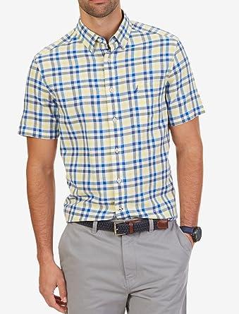 Nautica Camisa de Manga Corta de Mezcla de Lino a Cuadros para Hombre - Amarillo - Medium: Amazon.es: Ropa y accesorios