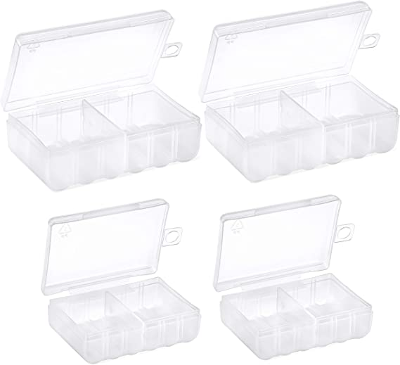 Battery Storage Case Battery Holder Clear C Due AA e Due AAA Battery Storage Box GlossyEnd Set di 4 D Clear
