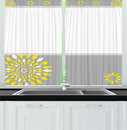 Ambesonne Grey and Yellow Kitchen Curtains, Modern Futuristic Border with  Geometric Flower Frame, Window Drapes 2 Panels Set for Kitchen Cafe, 55 WX  ...