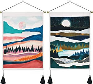 2 Pack Mountain Tapestry Forest Tree Tapestries, Sunset Tapestry, Moon Starry Sky Tapestry Nature Landscape Tapestry for Room (13.8 x 19.7 inches)