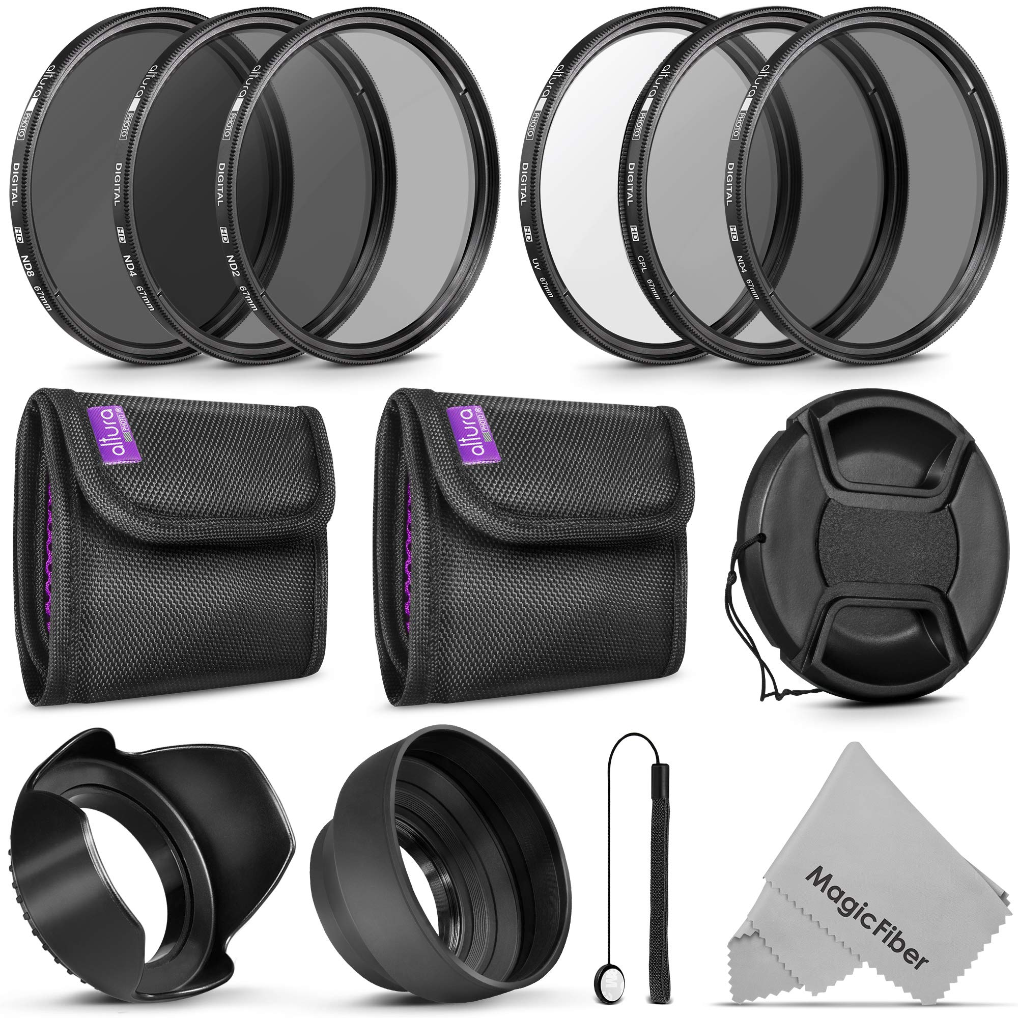 67MM Altura Photo UV CPL ND4 Lens Filters Kit and Altura Photo ND Neutral Density Filter Set. Photography Accessories Bundle for Canon and Nikon Lenses with a 67MM Filter Size by Goja