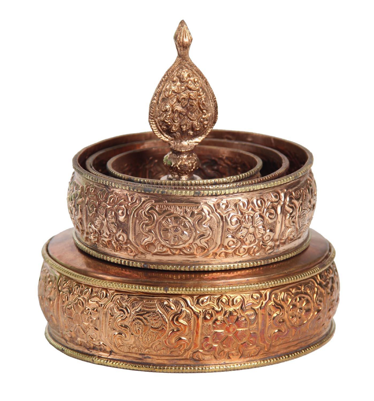 DharmaObjects Tibetan Buddhist Copper Offering Mandala Set 5.5'' Diameter by DharmaObjects
