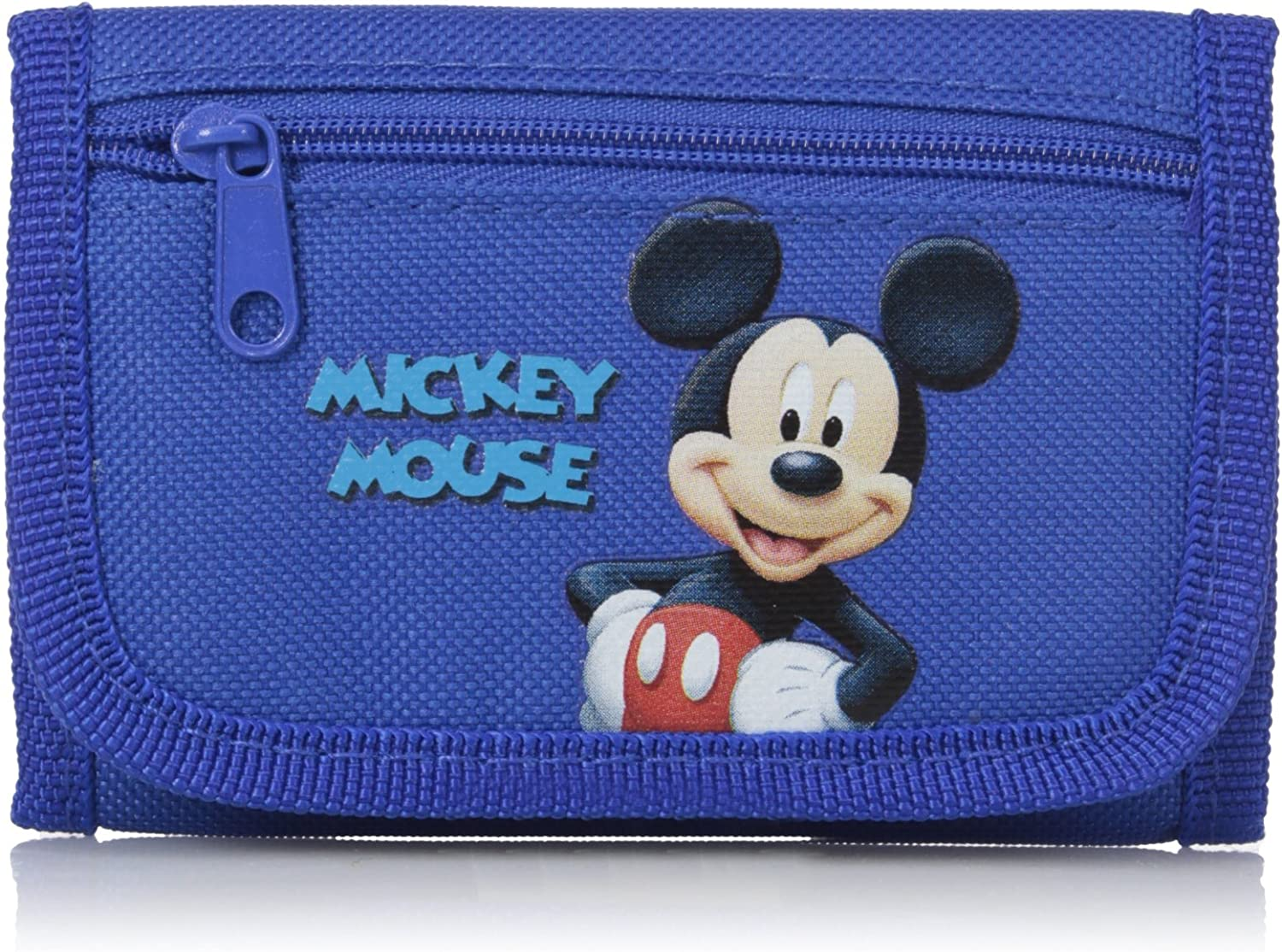 Disney Mickey Mouse Authentic Licensed Canvas Trifold Blue Wallet for Children