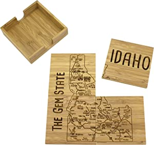 Totally Bamboo Idaho State Puzzle 4 Piece Bamboo Coaster Set with Case