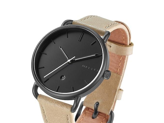 Meller Reloj Analógico para Unisex Adultos de Cuarzo con Correa en Cuero W3N-1: Amazon.es: Relojes