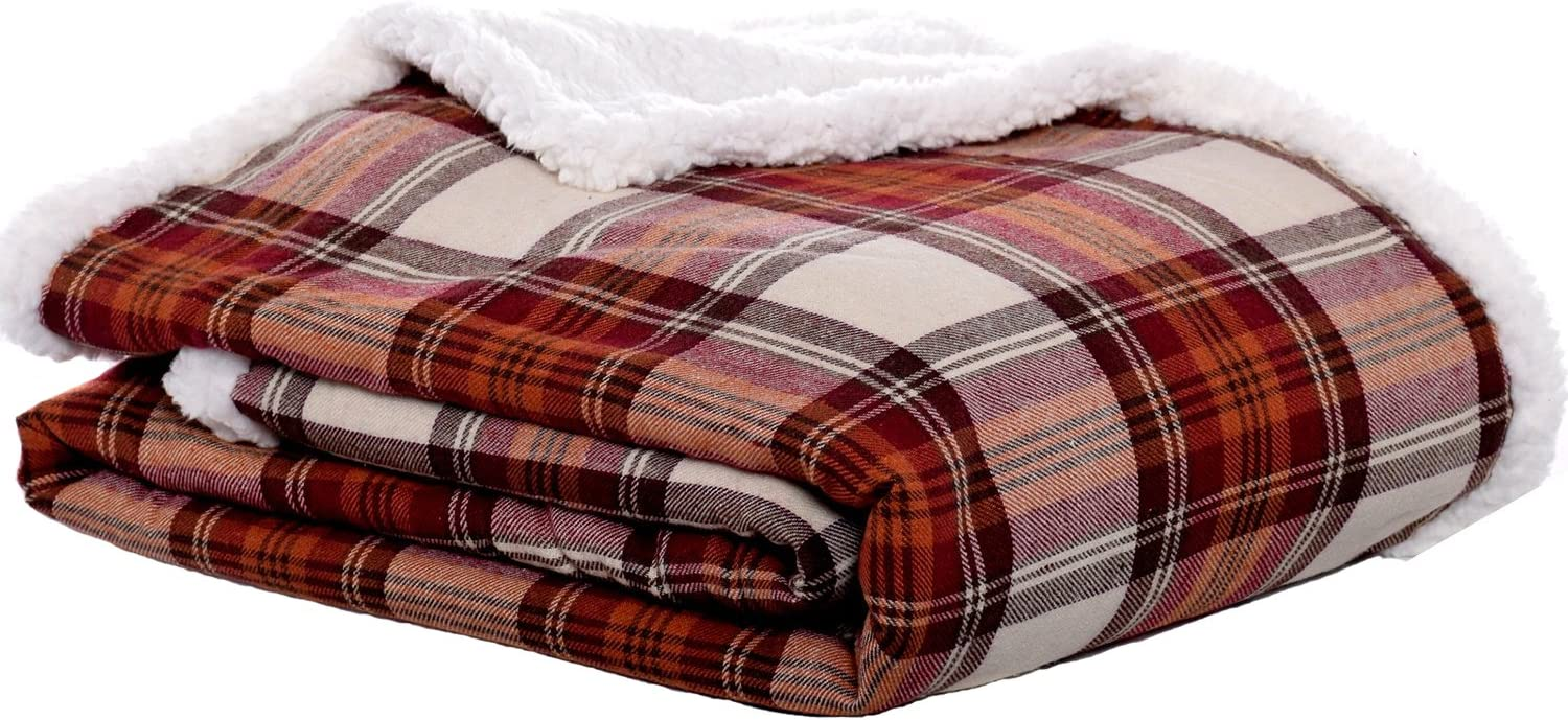 Throw Blanket-Reversible Sherpa Fleece Cover, Soft & Cozy.