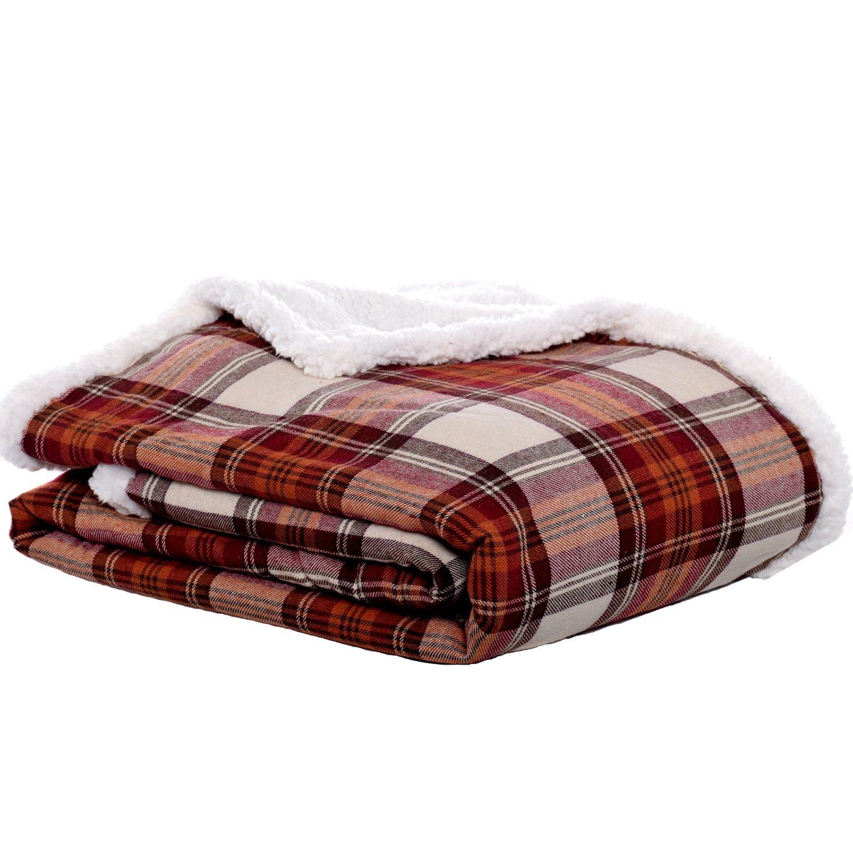 """Eddie Bauer Edgewood Plaid Flannel Sherpa Throw Blanket, 50"""" x 60"""", Red"""