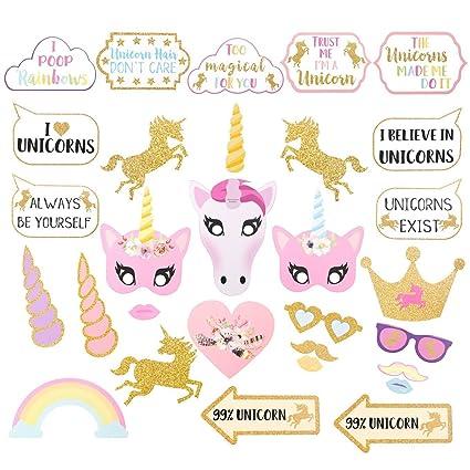 Hemore Boda y Unicornio Photo Booth Props para Niños para Party Boda,Cumpleaños,Fiestas