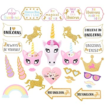 Amazon.com: Homdar Direct 30 PCS Unicorn Photo Booth Props Kit Halloween Birthday Party Accessory for Atmospheric and Funny (30 UNICORN): Home & Kitchen
