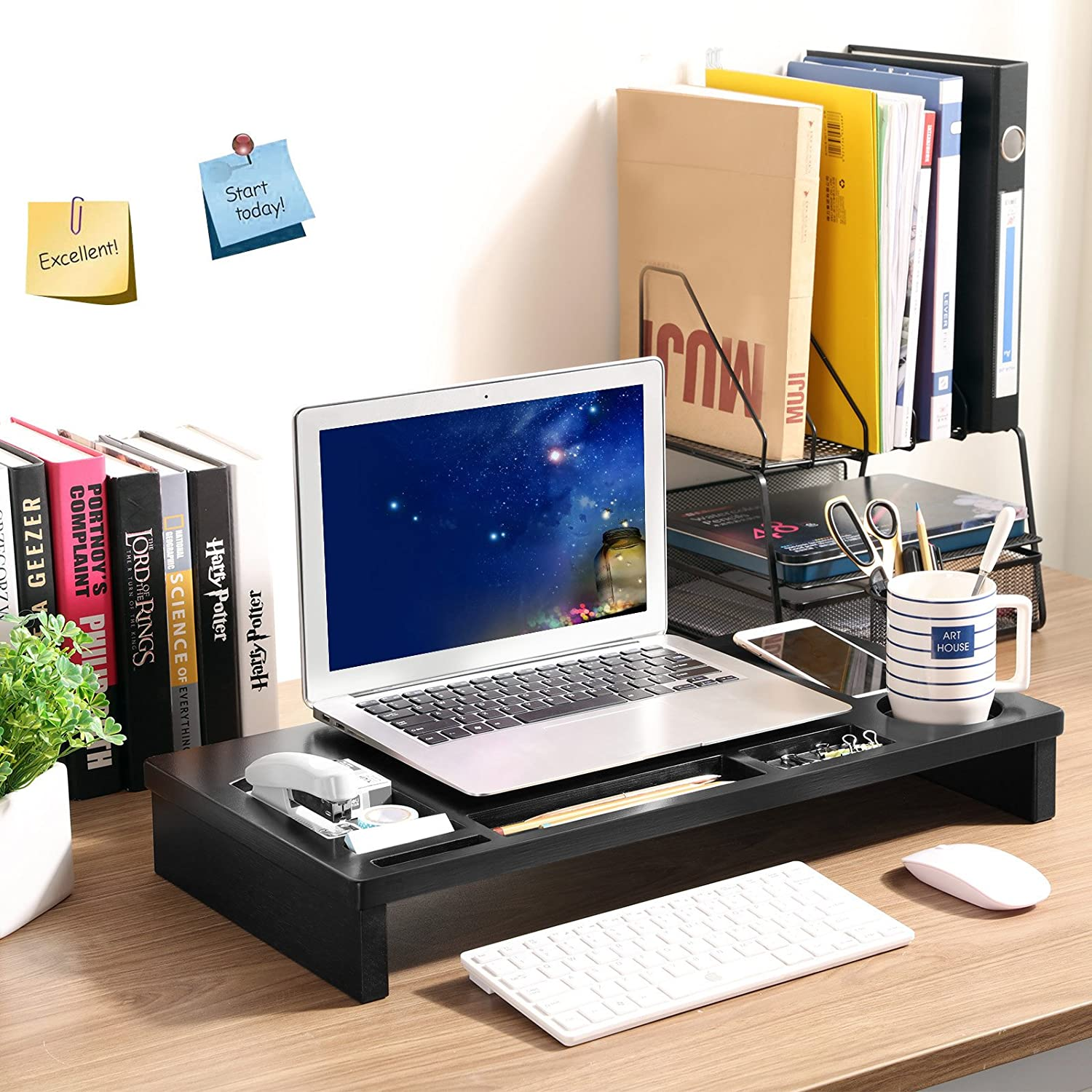 SONGMICS Bamboo Monitor Stand Riser with Storage Organizer Laptop Cellphone TV Printer Stand Desktop Container Black ULLD201H
