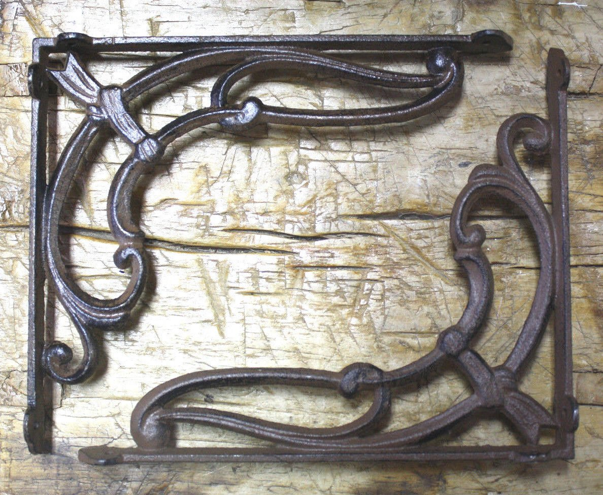 6 Cast Iron Antique Style VICTORIAN SCROLL Brackets Garden Braces Shelf Bracket , Garden Braces Shelf Bracket , Garden Braces Shelf Bracket RUSTIC , Wall Brackets Shelf Support for Storage