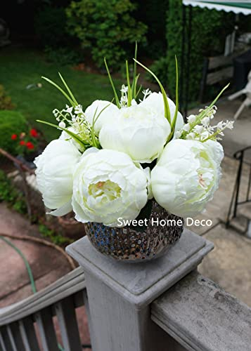 Sweet Home Deco Silk Peony Arrangement in Silver Ceramic Vase Table Flower Home Decor Wedding Centerpiece White