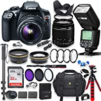 Canon EOS Rebel T6 DSLR Camera with 18-55mm is II Lens Bundle + Speedlight TTL Flash + 32GB Memory + Filters + Monopod + Spider Tripod + Professional Bundle