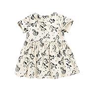 Baby Girls Rainbow Unicorn Print Summer Dress Short Sleeve Party Skirt (Beige, 1-2 Years)