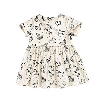 e72e2621aab5f Baby Girls Rainbow Unicorn Print Summer Dress Short Sleeve Party Skirt