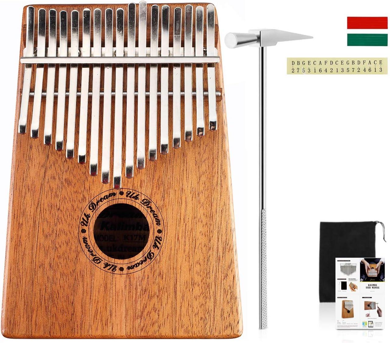 Uk Dream 10 Keys EQ Kalimba,Mahogany Tone Wood Electric Finger ...