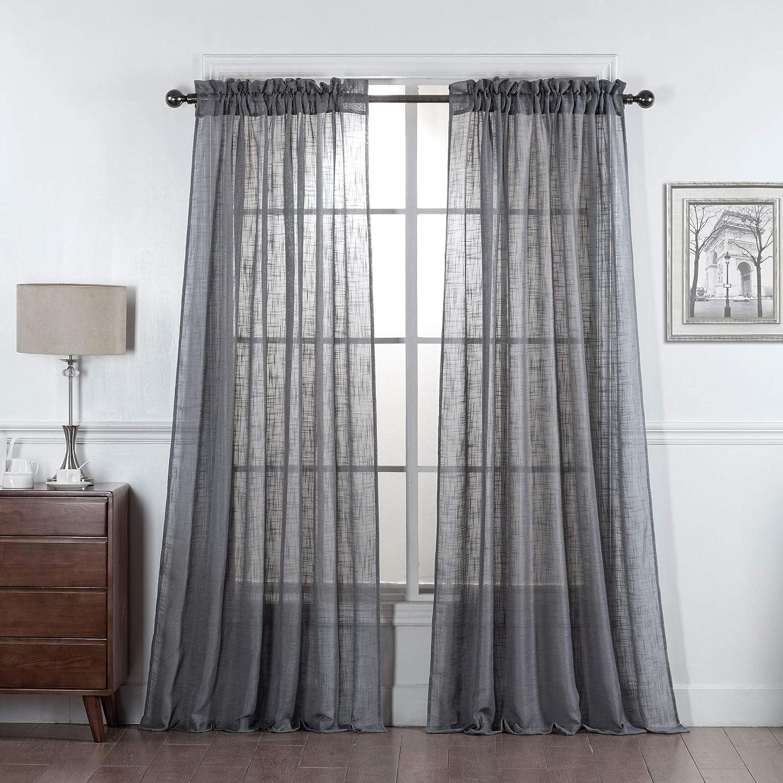 DiamondHome 2 Panels Linen Curtains Burlap Texture Semi Sheer Window Treatment Drapes Set (63