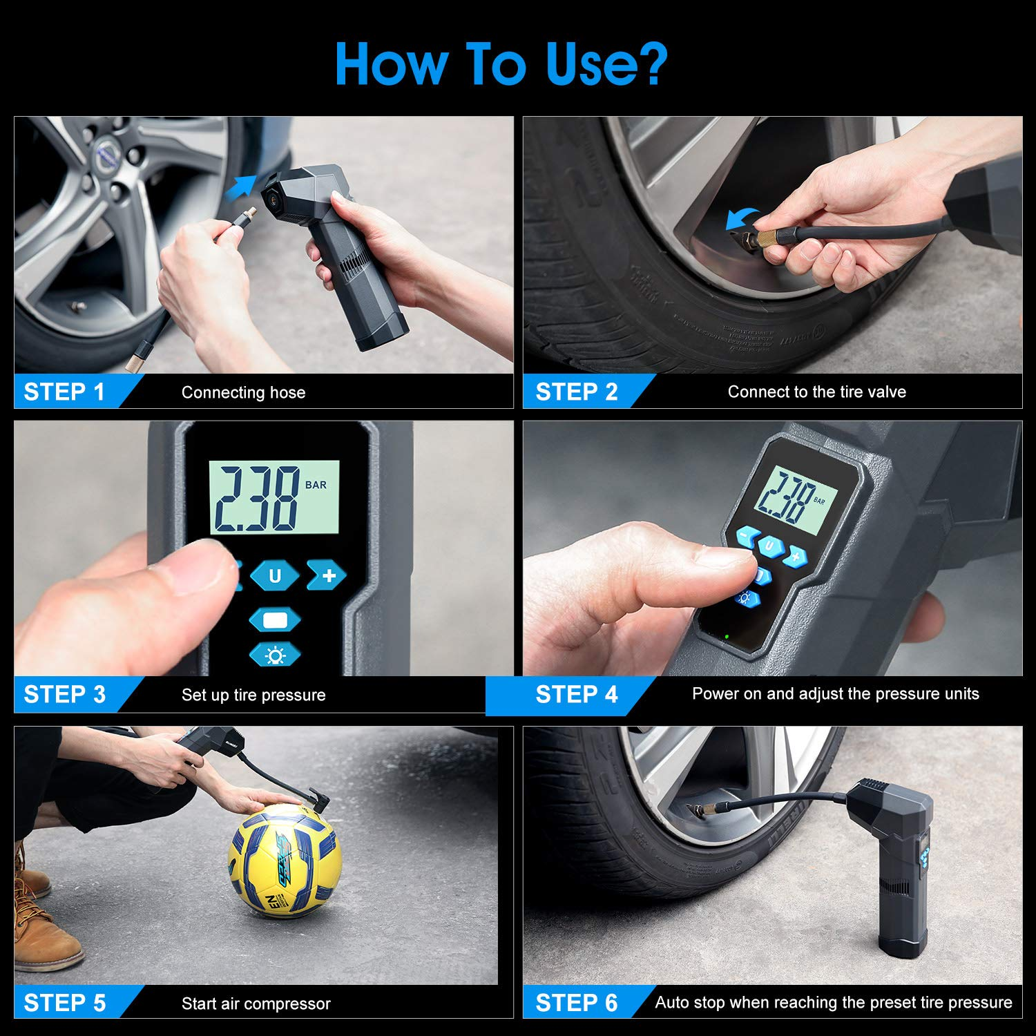 Basketball Airbeds SUAOKI Cordless Tire Inflator Handheld Air Compressor Rechargeable 2000mAh Li-ion Battery,Preset Feature,Auto Shut Off,Digital Pressure Gauge for Car Bicycle Motorcycles