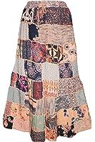 Mogul Interior Womens Boho Gypsy Skirt Summer Patchwork Maxi Long Printed Large