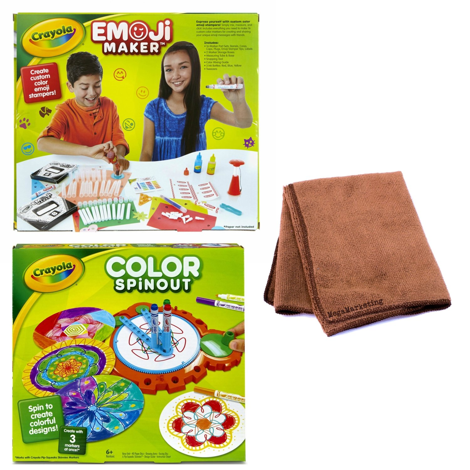 Crayola Emoji Stamp Maker, Marker Maker, Gift, Ages 6, 7, 8, 9, 10, 11, 12 (2) and Crayola Color Spinout, Spin Art with Markers, Gift, Ages 5, 6, 7, 8, 9 PLUS Cleaning Cloth by Cráyola