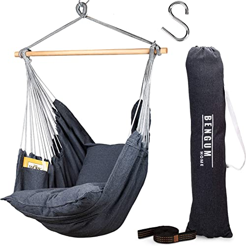 Bengum Hammock Chair Hanging Swing Indoor and Outdoor Use Large Swinging Seat Chair for Patio, Bedroom, or Tree 2-Tone Grey Durable Hammock 2 Cushions Side Pocket Rope Carrying Bag S