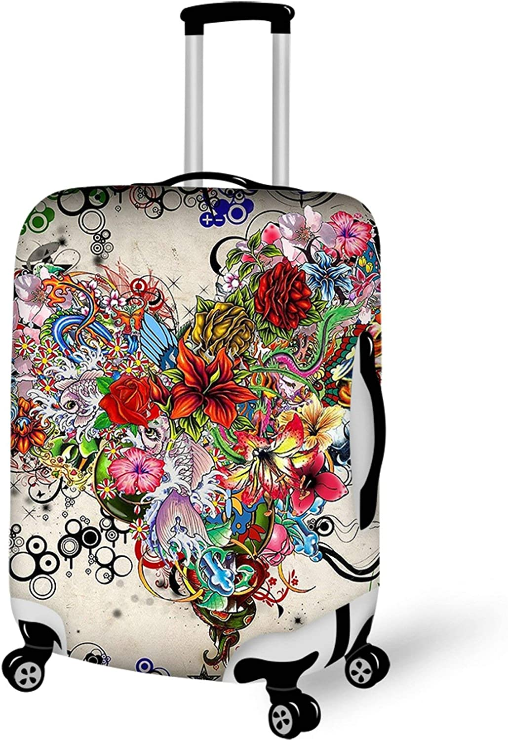 Washable Travel Luggage Cover Elastic Suitcase Trolley Protector Cover for 22-24 inch Luggage Flowers Heart