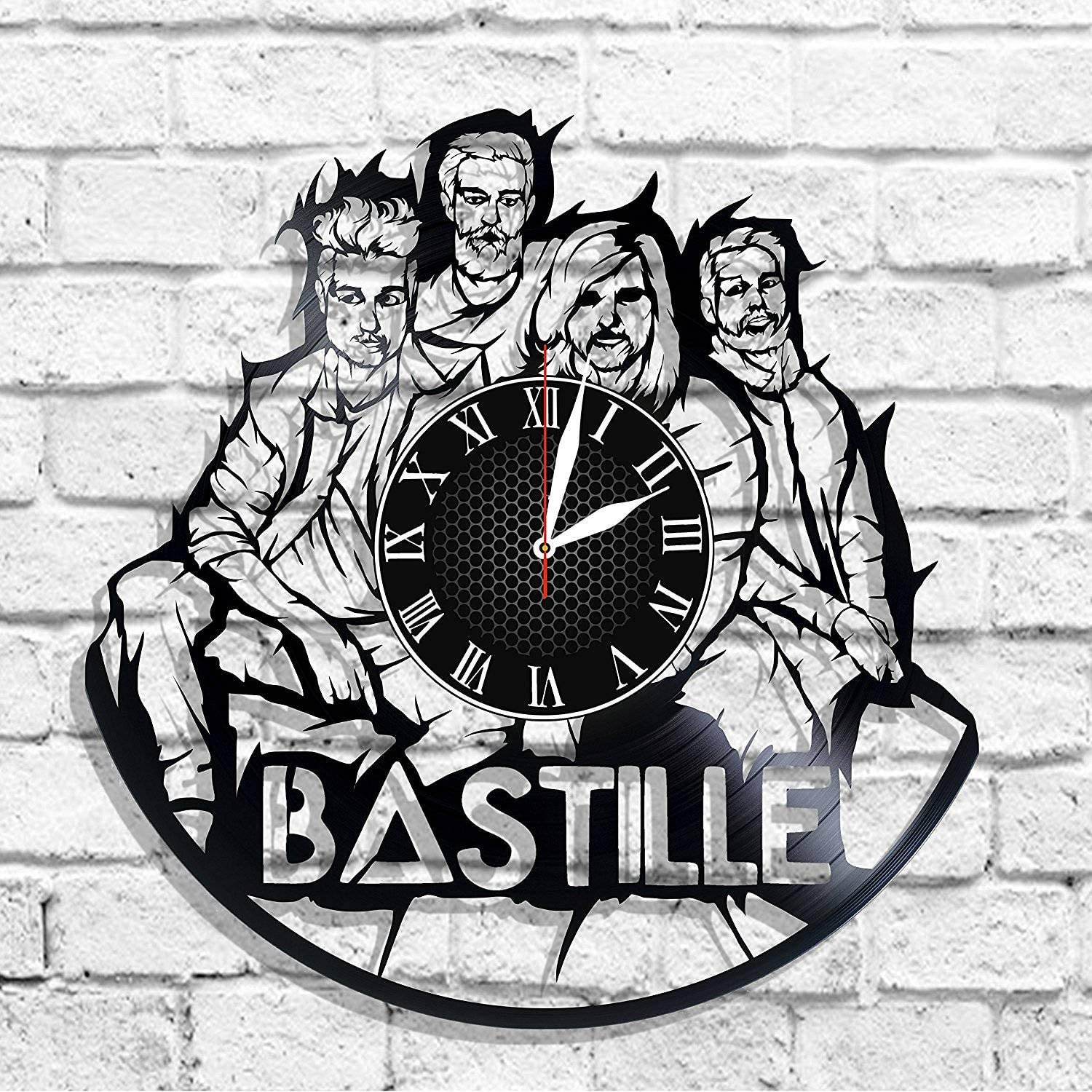 BombStudio Bastille Vinyl Record Wall Clock, Bastille Handmade for Kitchen, Office, Bedroom. Bastille Ideal Wall Poster