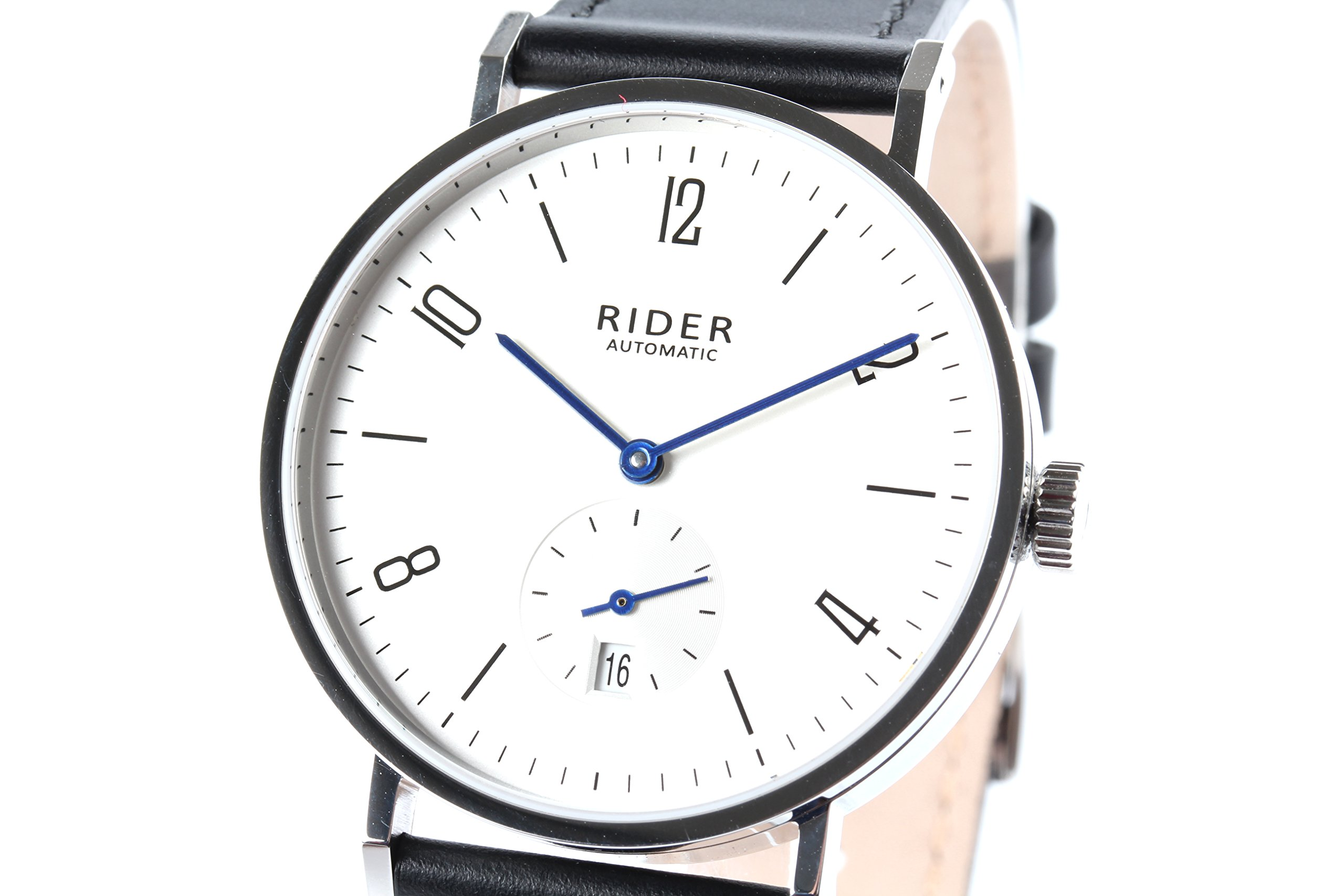 GT&FQ RIDER M003 Automatic Bauhaus Style Watch With 6H Date Function Arabic Sliver White Dial Black Strap Seagull ST1731 Movement