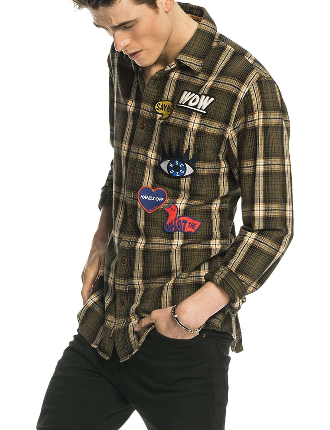 Scotch & Soda Herren Freizeit Hemd Longsleeve Shirt in Cotton Twill Flannel Quality in Multicolour Check Pattern