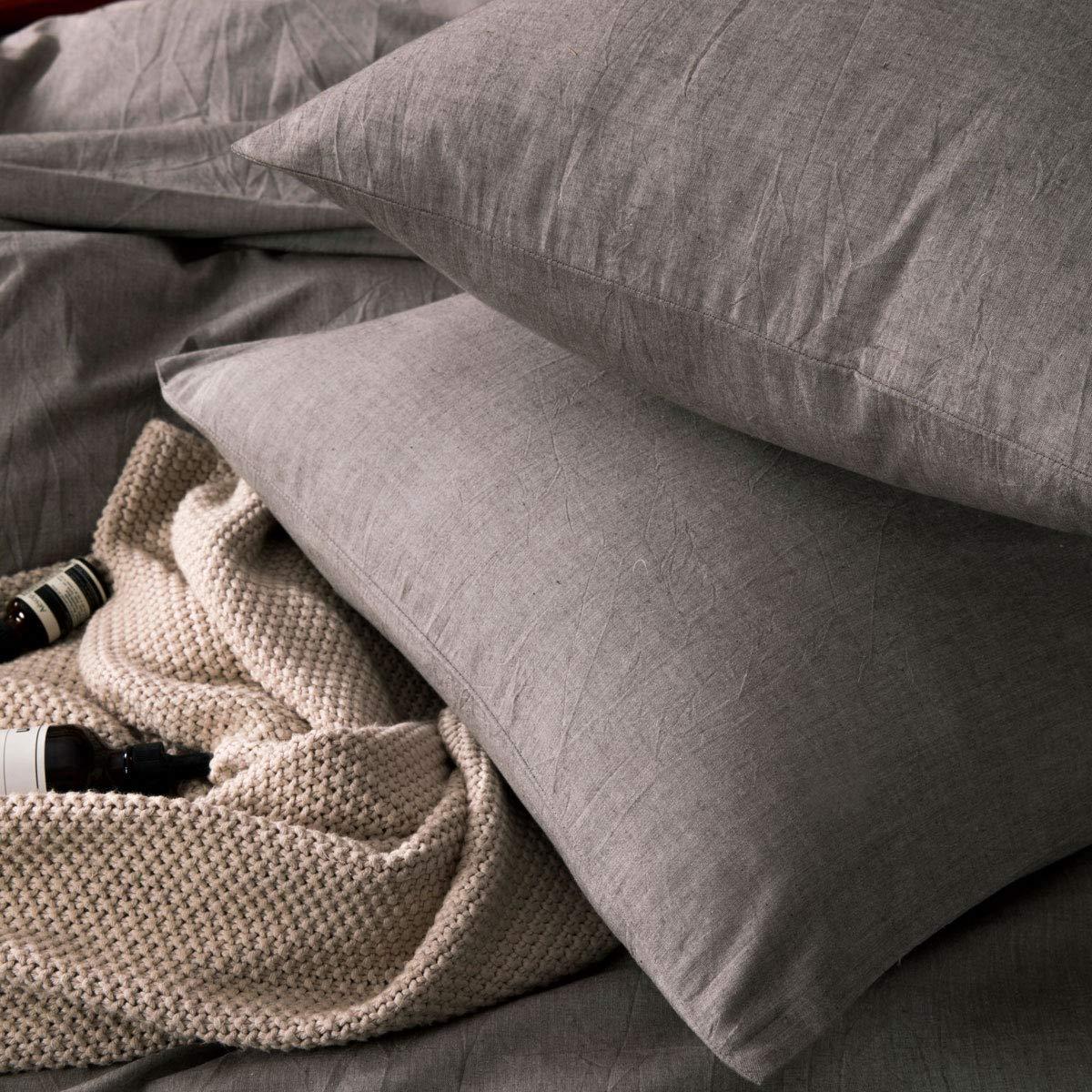 ATsense Duvet Cover Sets, 100% Washed Cotton, Queen 3-Piece Bedding Duvet Cover, Simple Style Farmhouse Bedding Set (Grey 7063) by ATsense (Image #3)